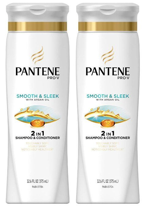 Pantene Pro-V Smooth and Sleek 2in1 Shampoo and Conditioner, With Argan Oil, 12.6 Ounce (Pack of 3