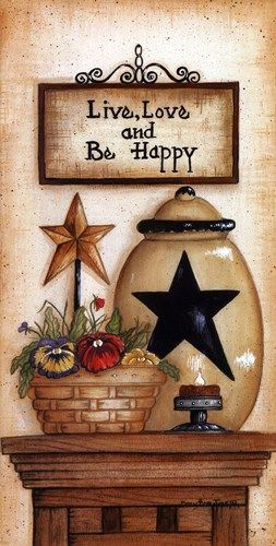 Be Happy, Art Print by Mary Ann June