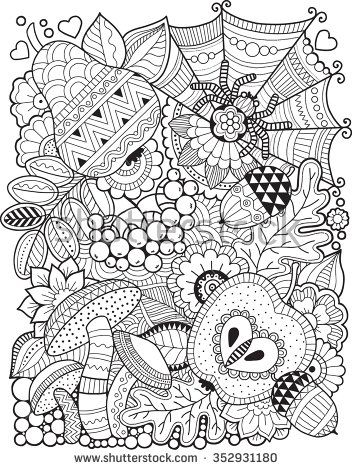 Hello autumn. Coloring book for adult
