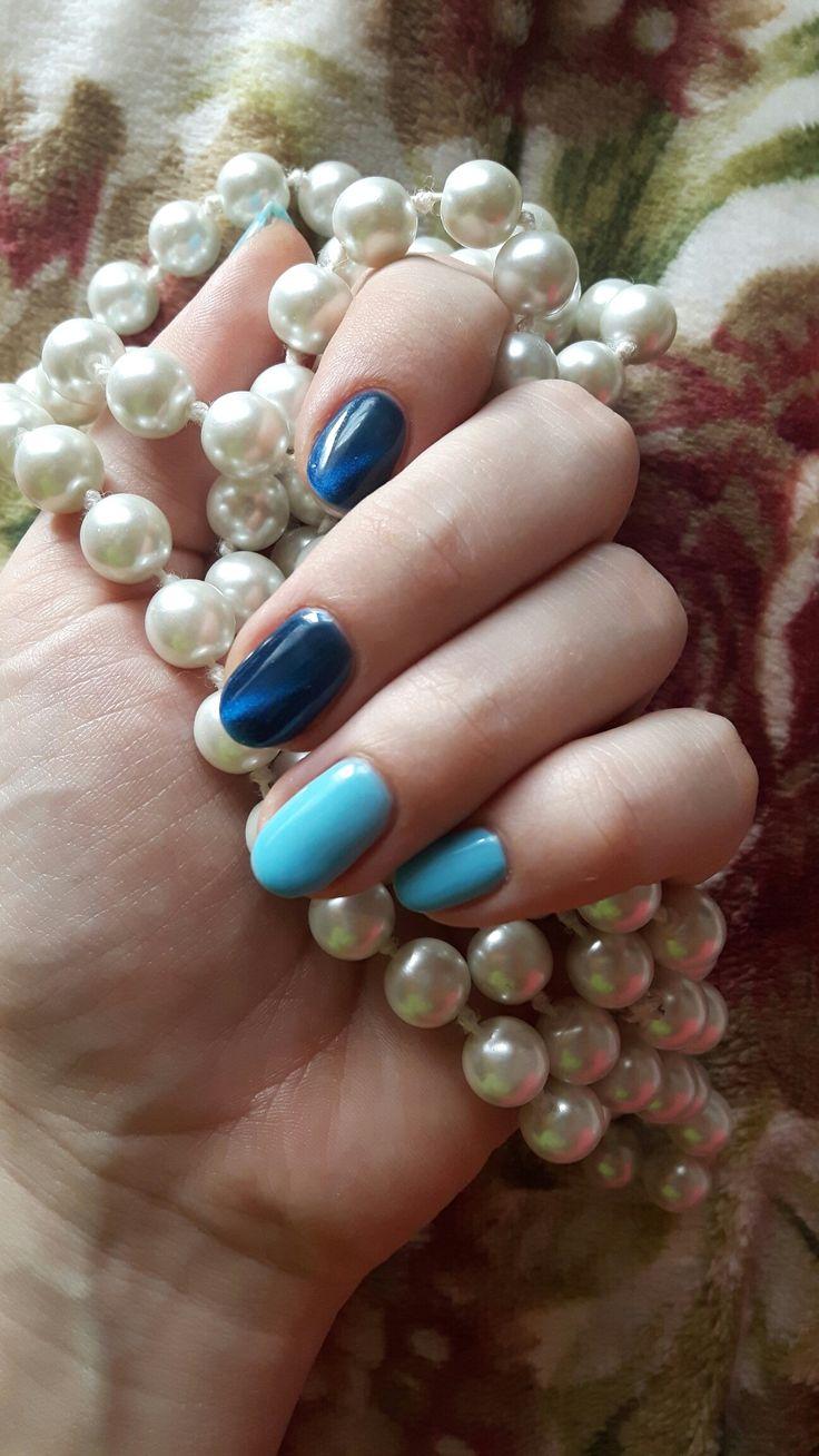 Semilac intense blue and Neonail cat eye ragamuffin