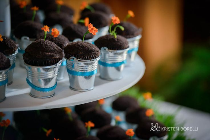 Flower pot cupcakes. Orange and blue  (Kristen Borelli Photography, Golden Wedding Photographer, Vancouver Island Wedding Photographer, Prince George Wedding Photographer, Heather Mountain Loddge Wedding Photographer, Nanaimo Wedding Photographer, Victoria Wedding Photographer)