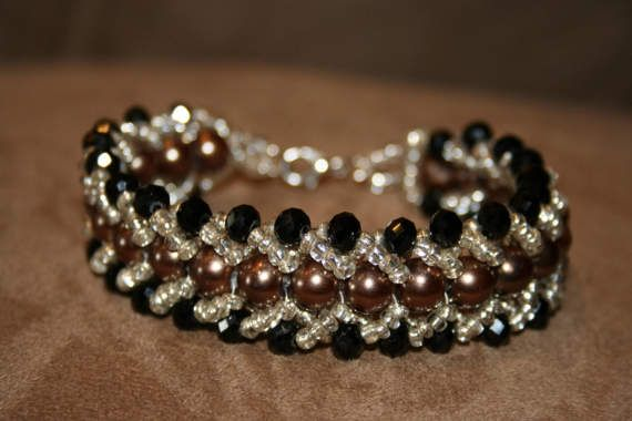 Crystals and pearls handmade bracelet by MaryLooGifts on Etsy
