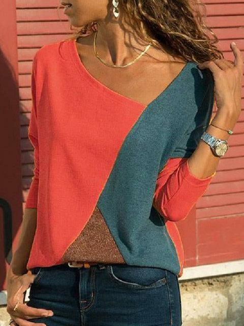 Long Sleeve Patchwork Vintage V Neck T-Shirts – lalasgal  9ff0f7b59