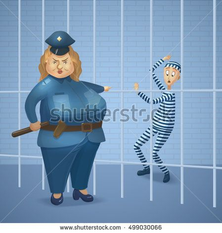 Strict policewoman and prisoner at jail. Big cop woman and scare