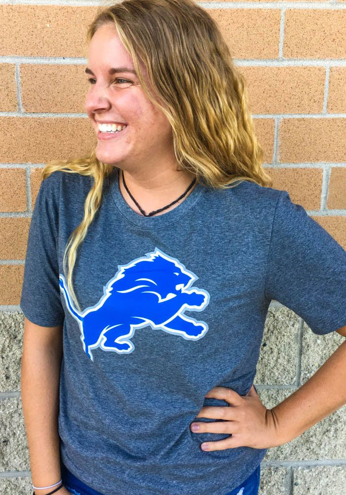 Nike Detroit Lions Grey Essential Logo Short Sleeve T Shirt ... df26f6ac9