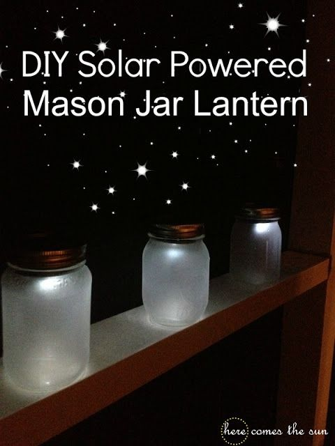 This DIY Mason Jar lantern is solar powered! Perfect for camping trips, dusk wedding lighting, or anywhere outdoors!