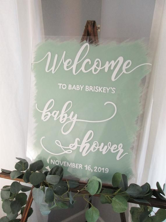 Baby Shower Welcome Stand : shower, welcome, stand, Personalized, Painted, Shower, Welcome, Acrylic, Sign,, Signs