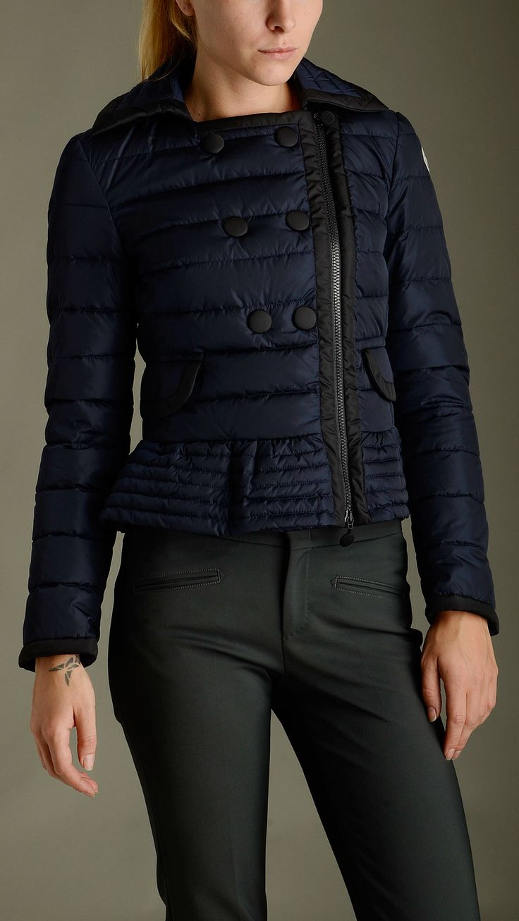 Ruffled bottom detailing Biber blue double breasted down jacket featuring zip fastening, spread collar, long sleeves, zippered cuffs, horizontal quilted, two flap pockets at front, slim fit.