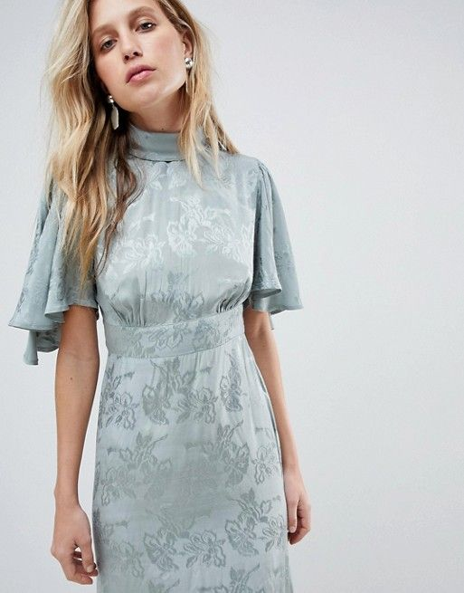 feb69307ed0c Maxi Dress with Floaty Sleeve in Soft Floral Jacquard | Weddings ...