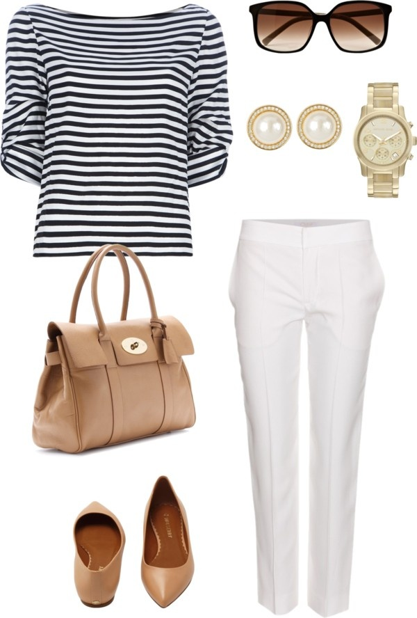 """White trousers + stripes"" by julianawagner on Polyvore"