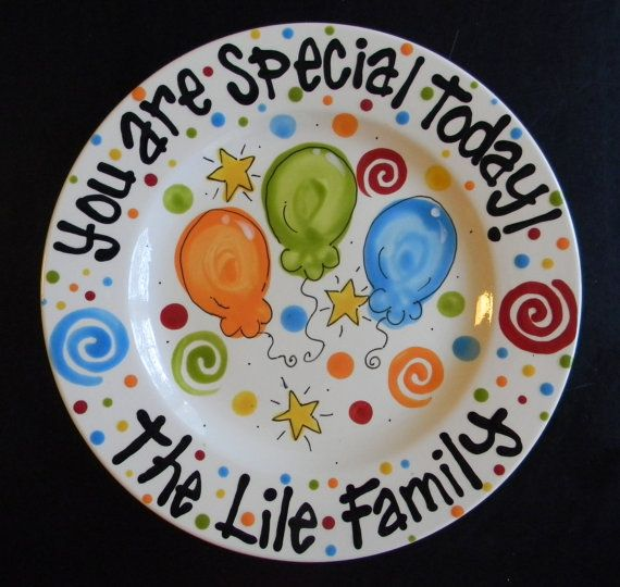 "CUSTOM:  ""I am special today!"" ""Grayson"" OR ""Celebrate!"" ""Grayson"" NO orange.  Red, blue, black, yellow, green...lots of stars, balloons, dots, etc. See other designs for more inspiration"