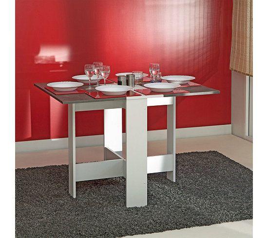 table de cuisine pliable leane blanc et gris d co. Black Bedroom Furniture Sets. Home Design Ideas