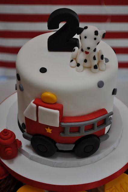 Cute fire truck cake