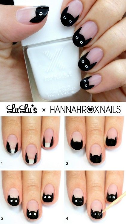 DIY Cat Nail Art from Lulu's. For more Halloween Nail Art go…