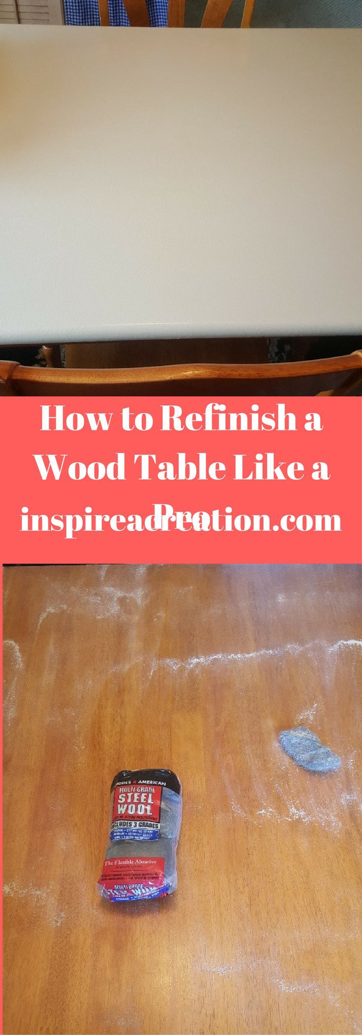 Get the tips and tricks to update your tired wooden table. #refinish #wood #table #diy