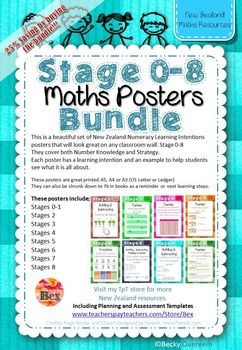 This bundle will save you 25%!!!This is a beautiful set of New Zealand Numeracy Learning Intentions posters that will look great on any classroom wall.They cover both Number Knowledge and Strategy. Each poster has a learning intention and an example to help students see what it is all about.These posters are great printed A5, A4 or A3 (US Letter or Ledger) They can also be shrunk down to fit in books as a reminder or next learning steps.These posters include;Stages 0-1Stages 2Stages 3Stages…