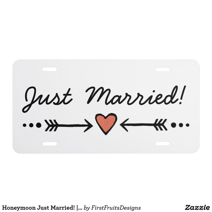 """Just married!"" - celebrate your special day as you drive away with this special license plate! Celebrate newlyweds' status with this custom license plate. The design features oh-so-sweet details: a pink heart and arrows motif, sharp white background, and skinny, cursive black text. Drive down the road proclaiming your newfound happiness as you head out on your honeymoon. It's the perfect finale to a perfectly special day. This license plate will make the perfect finishing touch as you go…"
