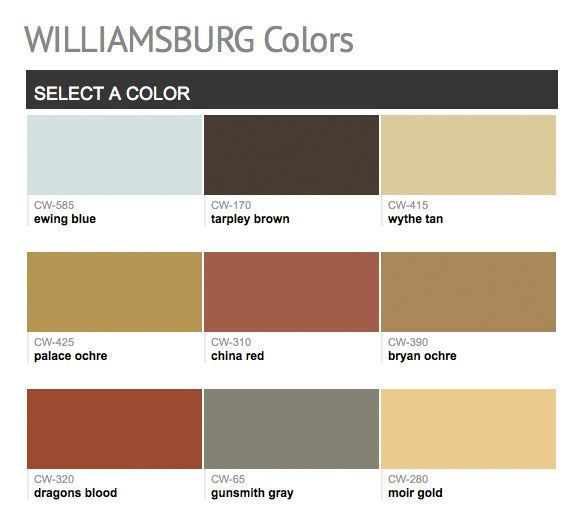Paints From Hirshfield's: Williamsburg Colors Benjamin