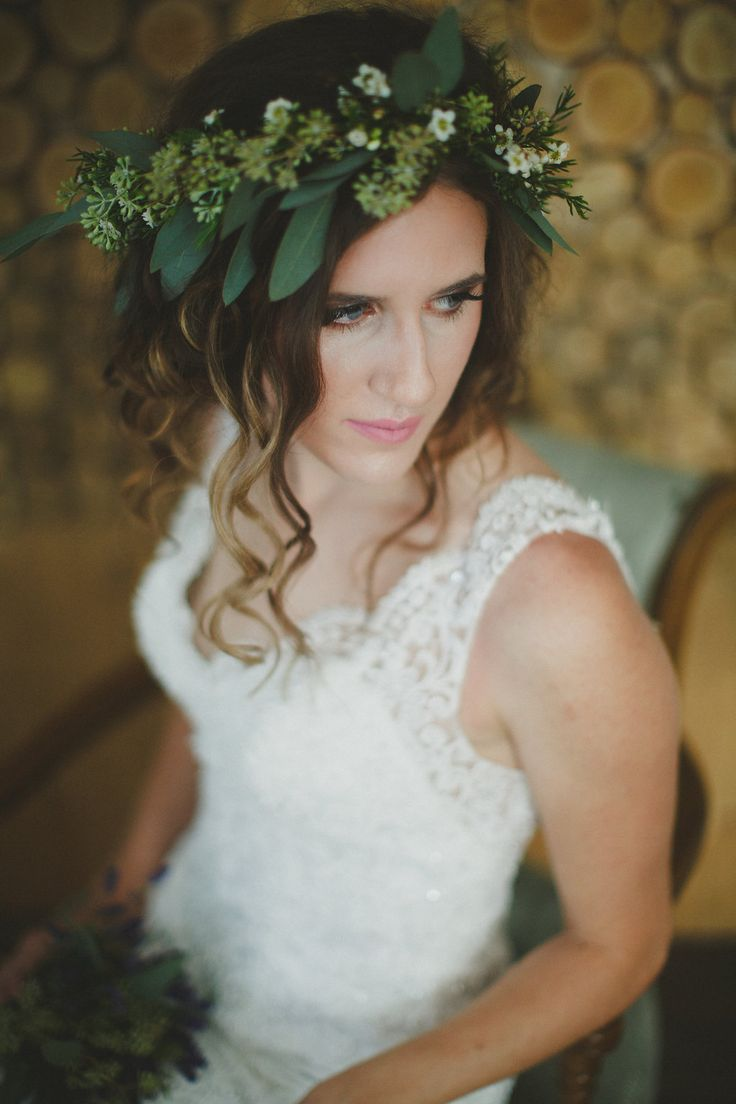flower crown and lavender bouquet