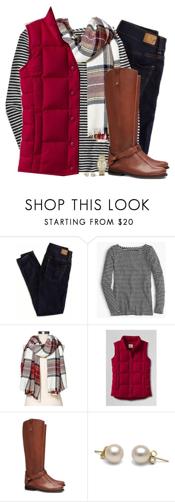"""Red down vest, tartan scarf & striped top"" by steffiestaffie ❤️ liked on Polyvore featuring American Eagle Outfitters, J.Crew, Merona, Lands' End, Tory Burch and Michael Kors"
