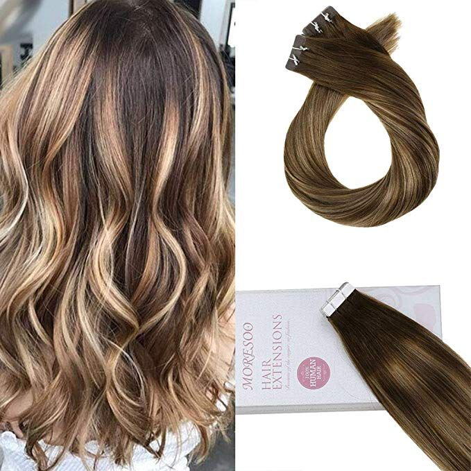 Moresoo 24 Inch Human Straight Hair Natural Hair Extensionstape In