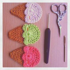 Cute Ice Cream Cone: free #crochet pattern (use translate if you aren't Dutch)