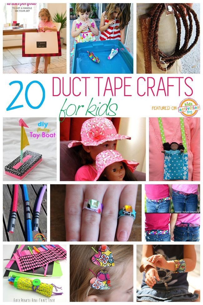 So many fun crafts for kids with duct tape. You can make everything from jewelry to a light saber!