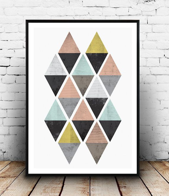 Geometric decor, Watercolor print, nordic design, minimalist print, simple art, Triangle poster, Abstract wall art, pink and gold,