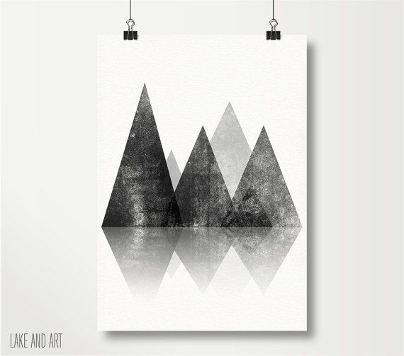 Geometric Mountains Print  Black and White Mountain by lakeandart