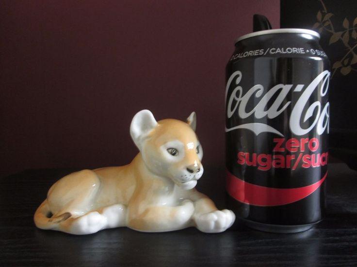 Vintage USSR LOMONOSOV LION CUB Cat FIGURINE SIGNED NUMBERED Alert Relaxed Cute!