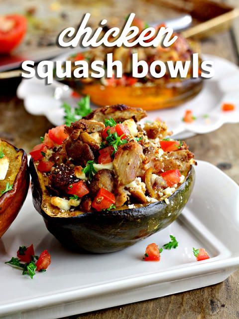 Chicken Squash Bowls Recipe!  Delicious as it looks and a great way to sneak in veggies!