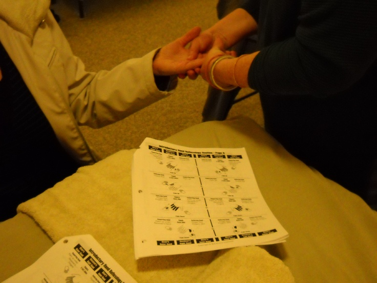 Practicing Hand #Reflexology routine with help of Study Guide. www.AmericanAcademyofReflexology.com