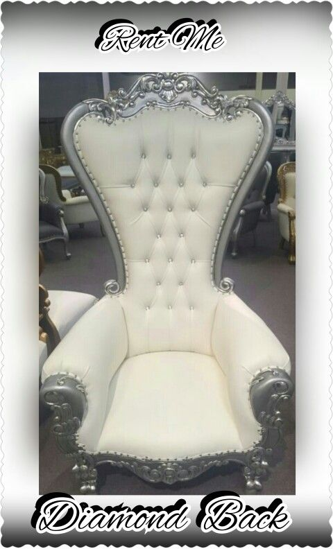 White And Silver Diamond Back Chair Kings Throne Chair