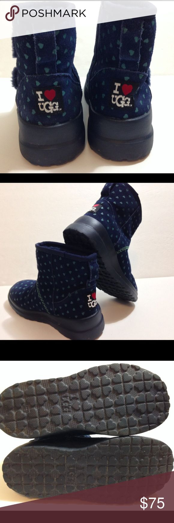 Ugg I Heart Ugg Heart Kisses Boots Ugg I Heart Ugg Heart Kisses Boots.  Navy blue with light blue hearts all over.  These are in fantastic condition!  No signs of wear, other than extremely minor on soles.  Worn only twice. UGG Shoes Winter & Rain Boots