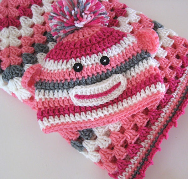 80 best monkey hats images on pinterest sock monkeys sock monkey granny square sock monkey hat and blanket set dt1010fo