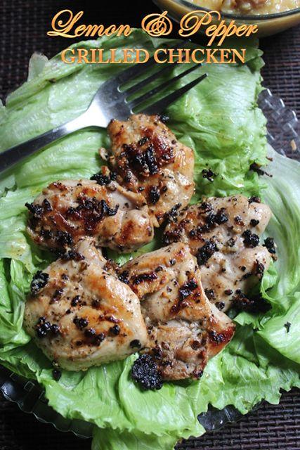 Boneless Skinless Chicken Thighs - 5 Olive Oil - 3 tblspn Lemon Juice - 2 tblspn Freshly Crushed Black Pepper - 2 tsp Garlic - 2 cloves grated Salt to taste