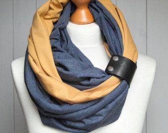 High street fashion infinity scarf with leather cuff by Zojanka