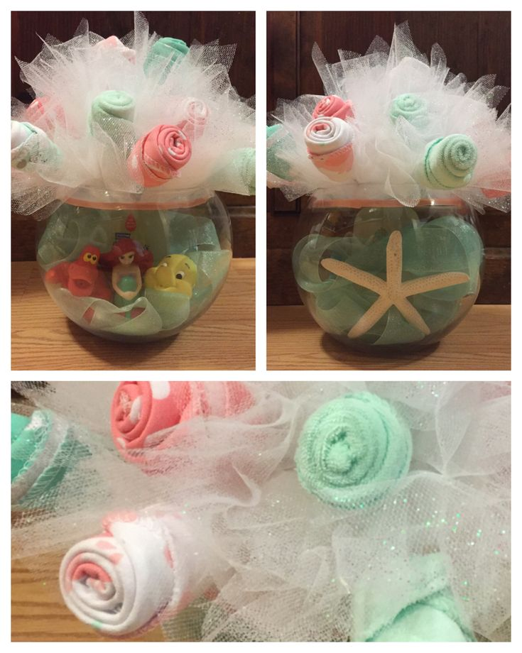 Baby shower centerpiece Teal and coral mermaid themed baby shower Wash cloth roses Diaper cake alternative