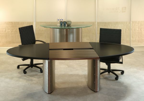 Crescent Custom Oval Conference Table 48x120x29 H With Brushed