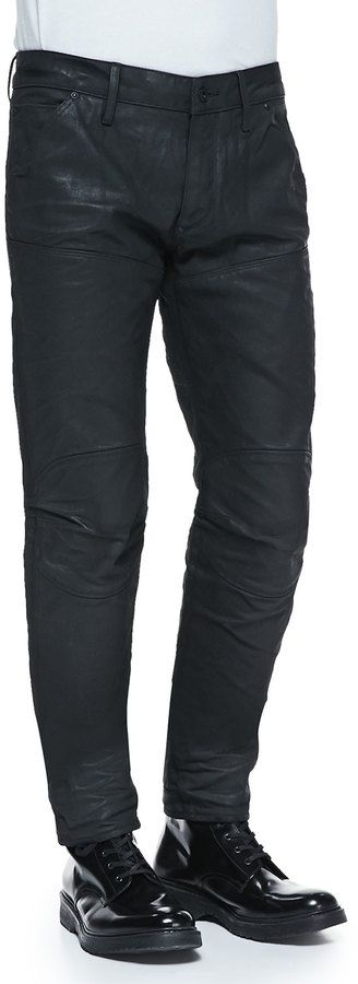 $190, G Star G Star Black Coated 5620 Tapered Jeans. Sold by Neiman Marcus. Click for more info: https://lookastic.com/men/shop_items/194844/redirect