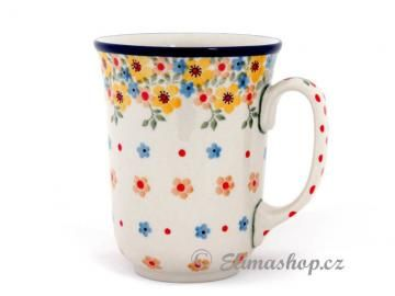 Spring pattern MUG ART 0,5 l . This Handmade Polish Pottery mug is from ELIMAshop.cz . Boleslawiec . Bunzlau . ceramics . stoneware . spring design ( hrnek ART 0,5 l )