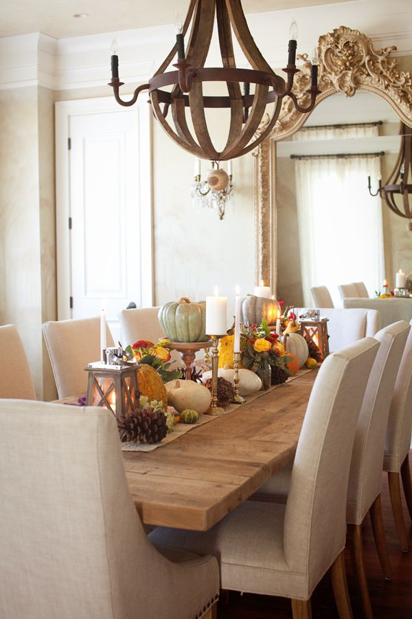 """Fall Decorating Inspiration - read the description about """"windowing"""" the tall things between chairs - so not interfering with line of conversation - pretty & smart."""