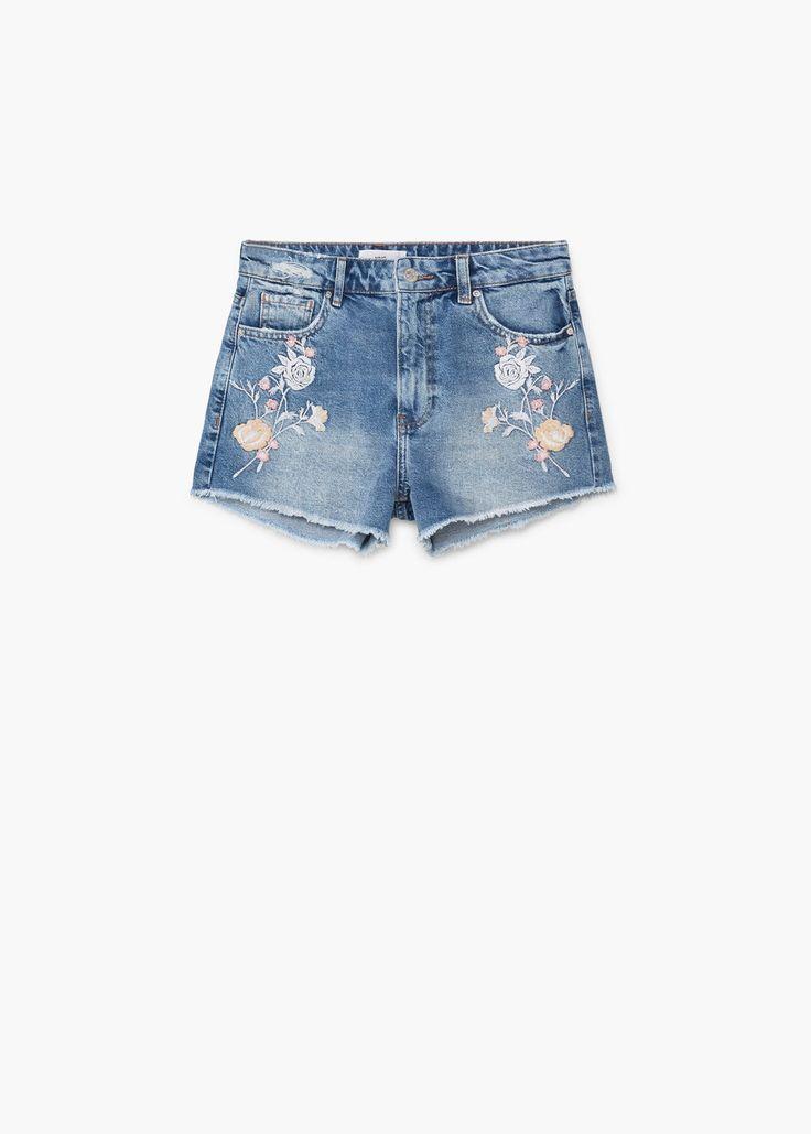 Bestickte jeans-shorts -  Damen | MANGO Deutschland