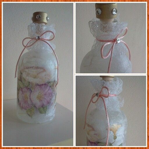 Decoupage with rice paper on bottle.