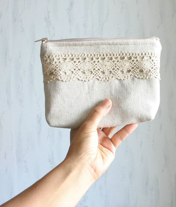 Linen and lace cosmetic bag zipper pouch makeup by HelloVioleta, $19.00