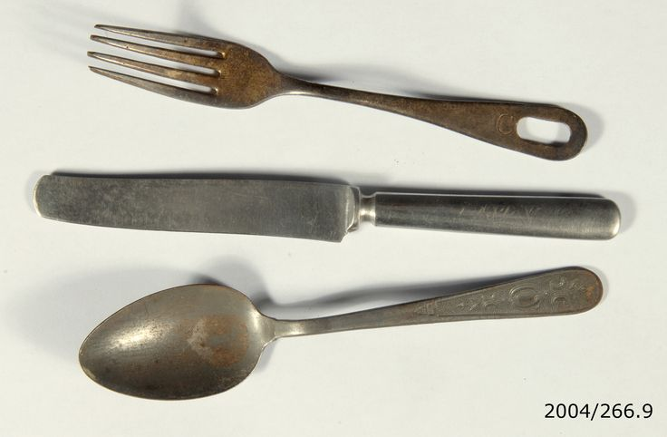 Knife, fork and spoon used by Warrant Officer R.C. Warren while a prisoner of war in Rabaul. From the collection of the Air Force Museum of New Zealand.