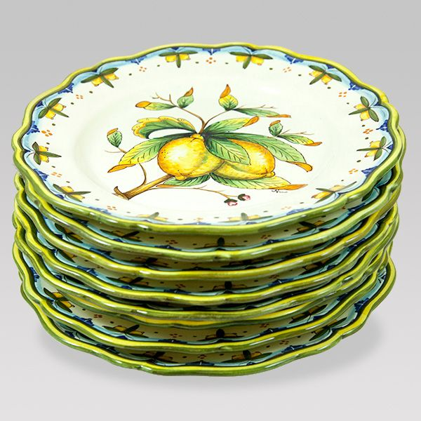 These Dinner Plates in Lemon Pattern on a White Background will give a bright look at your table setting ;) $81.99. #wedding #gift Follow this link to see all the products available in the same pattern and our discounted prices: http://www.pietrafittaimports.com/ceramics.html?design_pattern=282