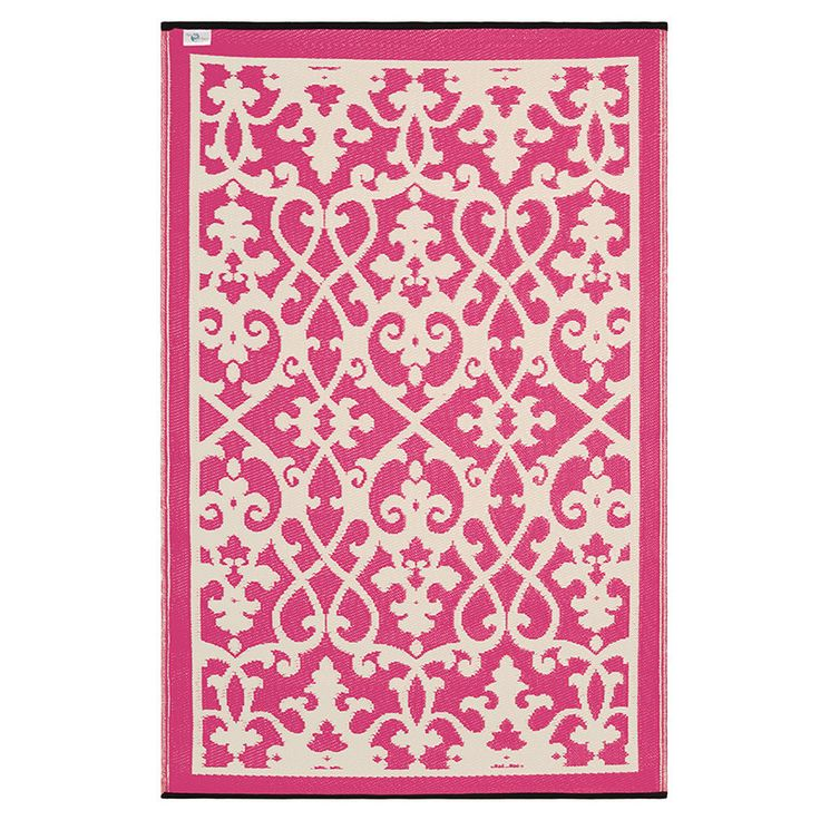 Pink and white beautiful Outdoor Rug Style My Home Australia by stylemyhome.com.au ONLY $49