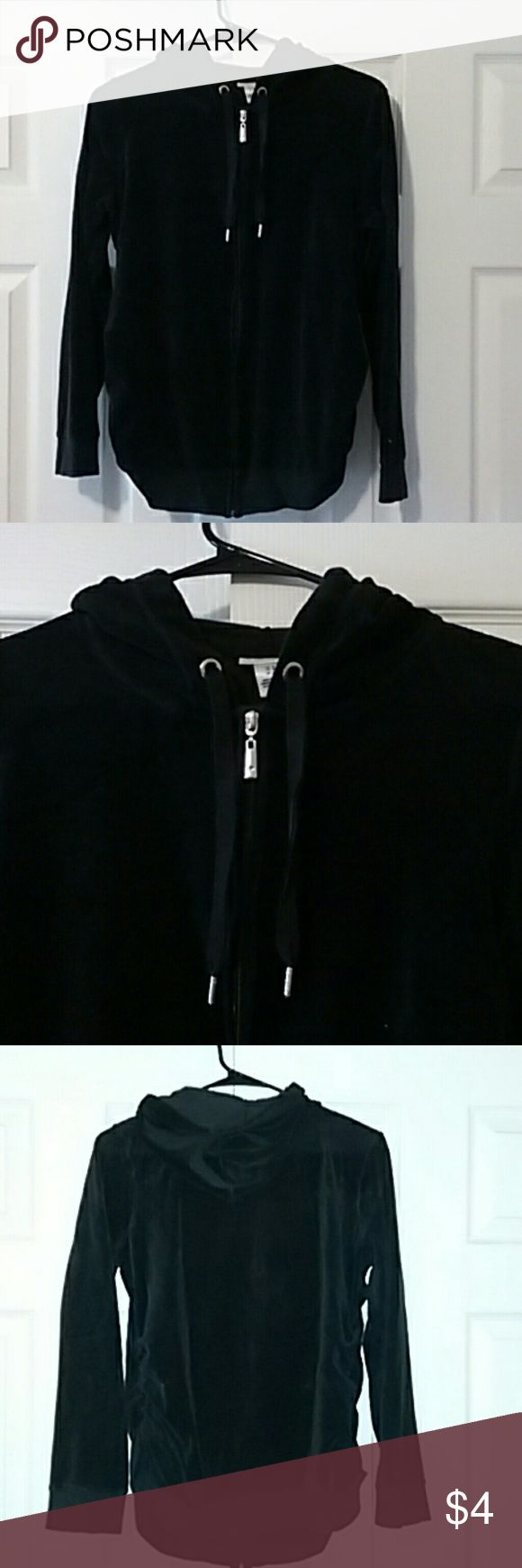 Price to sell!!! Black velour maternity jacket Motherhood Maternity zip up hoodie in a black velour material. Gently used! Very comfy and warm! Motherhood Maternity Jackets & Coats