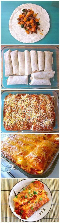 chorizo & sweet potato enchiladas....I love chorizo. Never would have thought to do that.